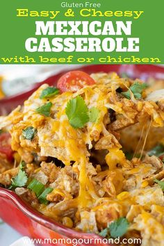 Mexican Chicken Casserole combines the best parts of taco night into one easy dish with chicken, rice, beans, cheese, & tortilla chips or doritos. #mexicancasserole #easy #chicken #taco #withdoritos #withtortillas #healthy