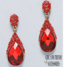 """""""STUNNING"""" PROM/FORMAL/WEDDING """"RED""""GLASS CRYSTAL CHUNKY EARRINGS*JEWELRY SET"""