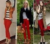 Calça vermelha e blusa p&b