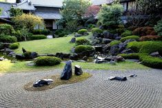 Pictures of small Japanese garden design - Japanese Rock Garden - Shitenno-ji Honbo Garden in Osaka, Japan by (Wikimedia) Asian Garden, Japanese Rock Garden, Zen Rock Garden, Rock Garden Design, Japanese Garden Design, Chinese Garden, Japanese Gardens, Zen Gardens, Moss Garden
