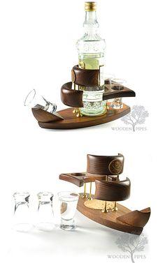 Wooden Mini Bar Ship. For TEQUILA or VODKA. Home decor. Interior design. Gift for man. Anniversary Gift. Housewarming gift.