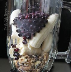 blueberry banana walnut smoothie, packed with nutrients and the walnuts are great for your complexion.