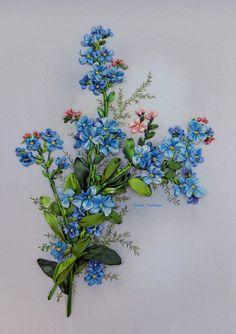 Embroidered picture Blu dream2 Silk ribbon