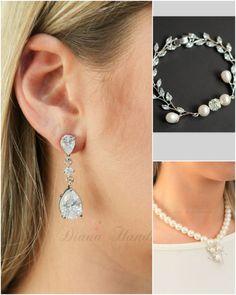 Bridal earrings Wedding jewelry Long by thefabbridaljewelry