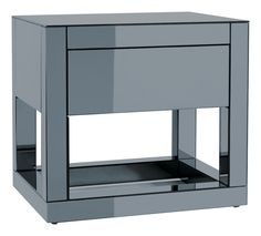 This mirrored bedside table is a different take on the white and black tables which have become common place. Match it with their set of drawers if you need more storage. Modern Bedside Table, Bedside Table Design, Mirrored Furniture, Modern Furniture, Set Of Drawers, Bedside Cabinet, New Room, Decor Interior Design, A Boutique