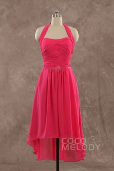 Cute+Sheath-Column+Halter+Natural+Short-Mini+Chiffon+Fuchsia+Sleeveless+Side+Zipper+Party+Dress+with+Beading+and+Ruched+4750058001 #cocomelody