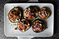 roasted eggplants with tomatoes and mint