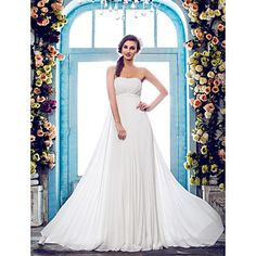 Sheath/Column Strapless Court Train Chiffon Wedding Dress (635867) – USD $ 129.99