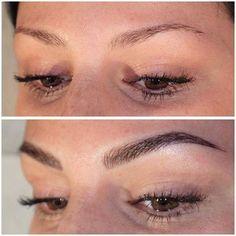 Microblading Eyebrows : Illustration Description Eyebrow tattoo by Jette Scherzer. Eyebrow Tattoo Makeup, Permanent Makeup Eyebrows, Makeup Tattoos, Eye Makeup, Eyebrow Wax, Eyebrow Tinting, Feather Eyebrow Tattoo, Permanent Eyebrow Tattoo, Brow Gel