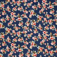 "Small Floral Bunches on Vintage Blue Cotton Spandex Blend Knit Fabric - Love this print!!  Pretty pinky red, blue, and yellow small floral bunches on a vintage color navy blue background cotton spandex rayon blend knit.  Fabric is light to mid weight with a nice soft hand, good 4 way stretch and a silky drape.  Largest bunch of flowers measures 1 1/2"" for scale.  ::  $6.50"