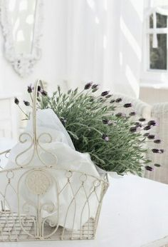 lavender in a wire basket - beautiful white surroundings #decor #country