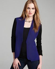 NWT $365 DVF Diane von Furstenberg Paulette Color Block Blazer Blue Black US 2 #DianevonFurstenberg #Blazer