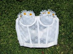 Women's White Daisy Corset Bustier Top 34B EDC  by TheLocalLotus, $25.00