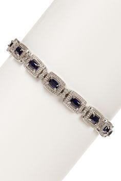 Sterling Silver Created Blue Sapphire & Diamond Bracelet - 0.10 ctw on HauteLook