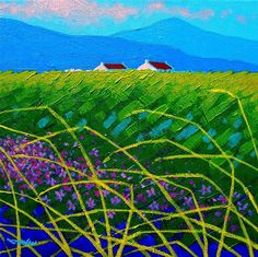 """Blue Hills', acylic, by John Nolan. Part of a series of stylized landscapes."