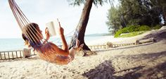 Picture of Young woman reading a book lying in a hammock on tropical sandy beach stock photo, images and stock photography. Obscure Holidays, Broken Book, Stress, National Days, Relax, Woman Reading, Days Of The Year, Kick Backs, Outdoor Furniture