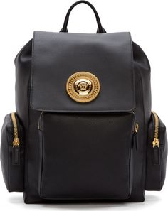 90066f65016b Versace Black Leather Medusa Backpack Versace Backpack
