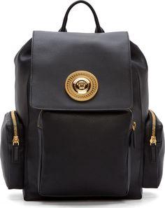 Versace Black Leather Medusa Backpack