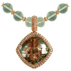 Green Amethyst Peridot Rose Gold Necklace Pendant One Of A Kind ($8,900) ❤ liked on Polyvore featuring jewelry, pendant necklaces, red, peridot jewellery, beaded jewelry, beading jewelry, beaded pendant necklace and peridot pendant