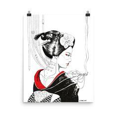 Geisha 2.0, Poster, Cyberpunk, Japanese, Various sizes Cyberpunk Anime, Cyberpunk Art, Poster Making, Paper Weights, Bella Canvas, Geisha, Art Museum, Giclee Print, Original Artwork