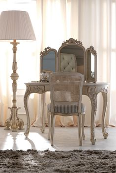 Reproduction Rococo Italian Designer Dressing Table Set at Juliettes Interiors, a large collection of Classical Furniture. Luxury Bedroom Furniture, Furniture Design, Bedroom Decor, Furniture Vanity, Luxury Bedding, Contemporary Bedroom, Modern Bedroom, Modern Contemporary, Dressing Table Set