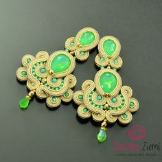 Mint earrings gold earrings beige earrings large earrings chandelier earrings pastel earrings long earrings green earrings soutache earrings ------------- MADE TO ORDER -------------- ***** FAST SHIPPING - order is delivered to you by COURIER SHIPMENT ***** (phone number required)! As