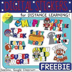 Football Digital Stickers for Seesaw | Distance Learning | TpT Free Football, Seesaw, Google Classroom, Big Game, Student Work, First Grade, Social Studies, Elementary Schools, Distance