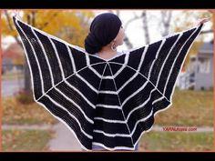 Knitting Patterns Poncho How to Crochet Tutorial: DIY Spider Web Wrap by YARNutopia Crochet Shawls And Wraps, Crochet Scarves, Knit Shawls, Crochet Sweaters, Double Crochet, Single Crochet, Free Crochet, Knit Crochet, Easy Crochet