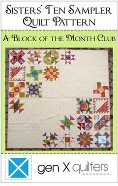 Image of Sisters' Ten BOM Sampler Quilt Pattern PDF