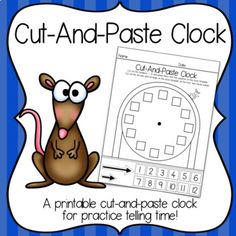 """Cut-And-Paste Clock is an open-ended activity for exploration of clock numbers and features, and concepts related to telling time. Students cut along the dotted lines and place the various """"clock parts"""" onto the clock template. After"""