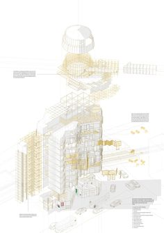 exploded isonometric view explaining the concept of flexibility used in the proposal 1:200 SketchUp + Photoshop