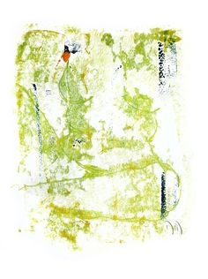 Sara semi nu sédentaire, 1995, zweifarbige Monotypie in Ölfarbe auf Buchdruckpapier 600 x 800 mm #nude # nu #akt #frau #femme #woman #naked #monotypie #monotype #painter #art #print #green #grün #jonin #maler #bodensee