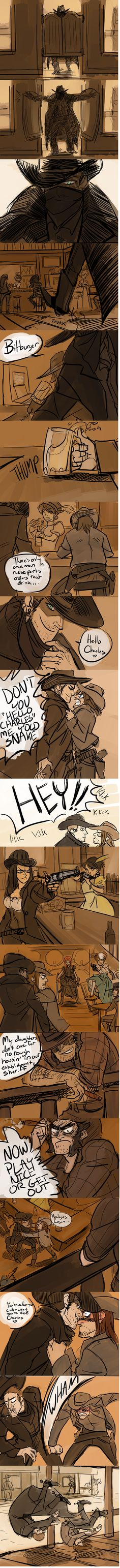 http://hackedmotionsensors.tumblr.com/post/90968086684/part-2-of-western-au-okay-so-honestly-the-real  Cherik Western AU!