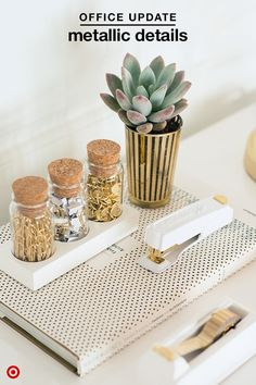 These glammed up Sugar Paper accessories will make you love getting your desk organized. This silver-and-gold set of paper clips, tacks and small clips looks elegant and put-together, while the white stapler and tape dispenser are ultra sleek. @sugarpaperla