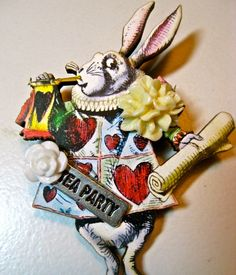 Jewelry  brooch Alice IN Wonderland the white by pinkflamingo61, $22.00
