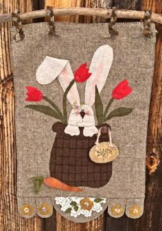 Rabbit in Basket with Flowers Wool Applique Pattern WW 008 Blossom - Spring and Summer Decor Wool Applique Patterns, Applique Stitches, Felt Applique, Embroidery Patterns, Penny Rugs, Small Quilts, Mini Quilts, Easter Crafts, Felt Crafts