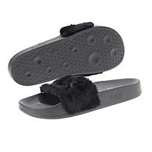 The Fur Slide, the third style to unleash from the FENTY PUMA by Rihanna collection, is a daring, cozy spin on a PUMA classic. Making over a timeless PUMA performance sandal worn by soccer players off the field, its soft, comfortable design features a faux fur strap and a satin foam backing.  Features:   Faux fur strap  Satin foam strap backing  FENTY PUMA by Rihanna logo at footbed  PUMA No. 1 Logo at lateral side  Embroidered PUMA No. 1 Logo at strap
