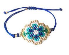 Turquoise Beadwork Bracelet Navy Blue Beadwork Bangle Miyuki Jewelry Boho Bracelet For Woman For Her Christmas Gift Fast Shipping Womens Jewelry Rings, Boho Jewelry, Beaded Jewelry, Jewelry Design, Women Jewelry, Jewelry Trends, Beaded Earrings, Beaded Bracelets, Bracelet Patterns