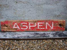 Rustic Distressed Aspen Colorado Wood Ski Lodge Sign by TheUnpolishedBarn, $59.99
