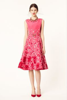 Girly Hot pink #dress Oscar de la Renta Resort 2014 #fashion
