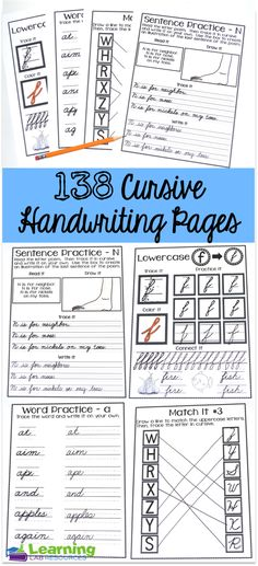 Free cursive handwriting worksheets instant download handwriting cursive handwriting practice pages fandeluxe Images