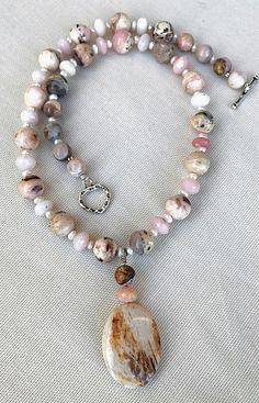 Pink Opal Necklace  Wedding Necklace  Wedding Jewelry