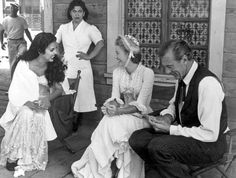 "Kathy Jurado, Grace Kelly, Gary Cooper on the set of 1952 iconic Western ""High Noon"""
