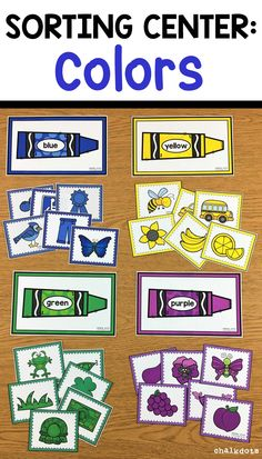 "This hands-on activity is a fun way to help your children recognize and sort colors. These cute and colorful cards can be used as a whole class ""circle time"" activity or in small group instruction for children who need extra practice with their colors. They can also be put in a center for the children to work on individually.  #colorsorting #learningcolors #prek #chalkdots"