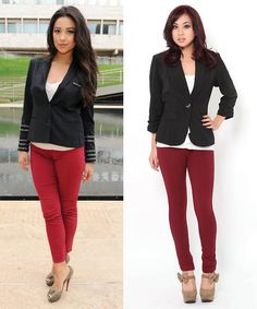 Pair burgundy pants with a blazer for a classic look. Repin if you would wear this #outfit!