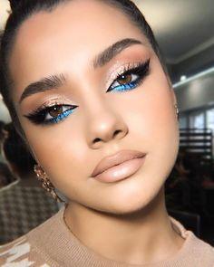 Looks Party, Party Makeup Looks, Cool Makeup Looks, Brown Makeup Looks, Beautiful Eye Makeup, Green Makeup, Colorful Eye Makeup, Blue Eye Makeup, Blue Eyeliner
