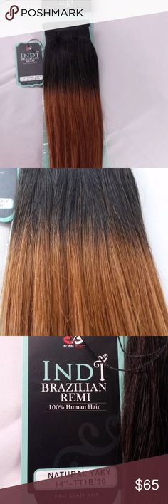 """BobbiBoss INDIREMI Extension 14"""" Natural Yaky Brand new Bobbi Boss 100% human hair extension. The extensions are a beautiful ombre, starting with a jet black transitioningto a gorgeous caramel. They are a long 14 inches weave type extensions, they do not have any clip in componentso its just the hair weft. New with tags but the box they came in was crushed so it is not included. Natural yaky texture gives these extensions a superior softness and natural movement. These extensions are so…"""