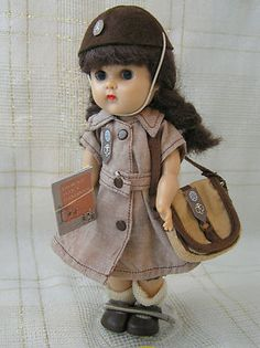 1957 Vintage Vogue GINNY DOLL BKW Brownie Scout Medford Tags