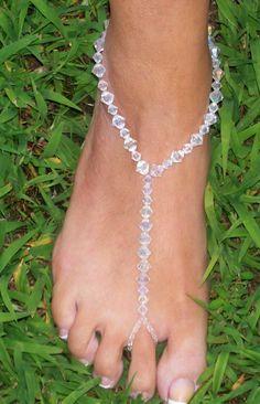 Toe Thong Foot Thong Barefoot Sandal Beach Wedding Feet Jewelry Anklet. $16.00, via Etsy.