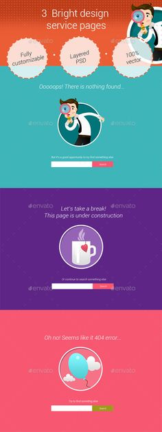 3 Bright Service Pages - #404 Pages #Web Elements Download here:  https://graphicriver.net/item/3-bright-service-pages/8800696?ref=alena994